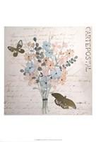 Gilded Fleurs Pastel I - Metallic Foil Framed Print