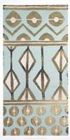 Tribal Pattern in Turquoise I - Metallic Foil Fine Art Print