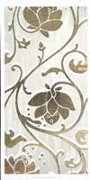 Weathered Floral Panel I - Metallic Foil Framed Print
