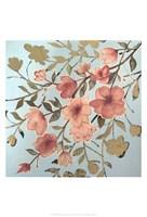 Golden Cherry Blossoms II - Metallic Foil Framed Print