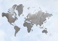 Silver Foil World Map on Blue - Metallic Foil Fine Art Print