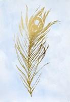 Gold Foil Feather I on Blue - Metallic Foil Fine Art Print