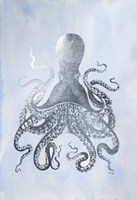Silver Foil Octopus II on Blue Wash - Metallic Foil Framed Print