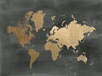 Gold Foil World Map on Black - Metallic Foil Framed Print