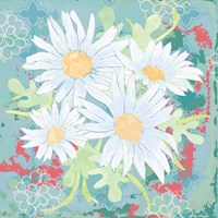 Daisy Patch Teal I Fine Art Print