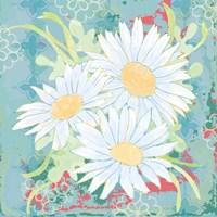 Daisy Patch Teal II Fine Art Print