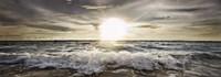 Sun Shining over Rocky Waves Fine Art Print