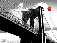 Balloon over Brooklyn Bridge Fine Art Print