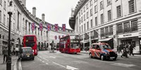 Buses and taxis in Oxford Street, London Fine Art Print