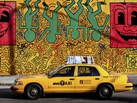 Taxi and Mural painting, NYC Framed Print