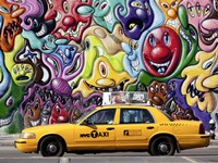 Taxi and Mural painting in Soho, NYC Framed Print
