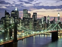 Brookyn Bridge and Downtown skyline, NYC Fine Art Print