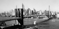 Brooklyn Bridge with Manhattan skyline, 1930s (detail) Fine Art Print