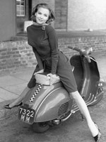 Posing on Motor Scooter Fine Art Print