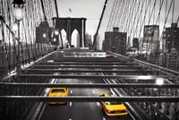 Taxi on Brooklyn Bridge, NYC Fine Art Print