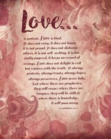 Corinthians 13:4-8 Love is Patient - Pink Floral Fine Art Print
