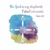 Psalm 23 The Lord is My Shepherd - Cross 1 Framed Print