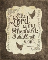 Psalm 23 The Lord is My Shepherd - Bird Border Fine Art Print