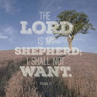 Psalm 23 The Lord is My Shepherd - B&W Field Fine Art Print