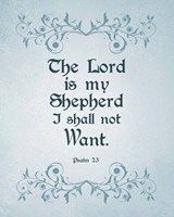 Psalm 23 The Lord is My Shepherd - Blue Fine Art Print