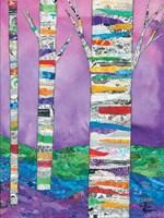 Multicolored Birch Tree I Fine Art Print