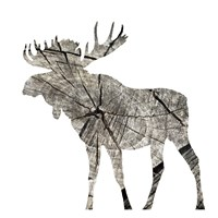 Wood Moose White Mate Framed Print