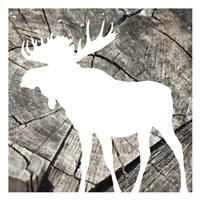 Wood Moose Reverse Mate Framed Print