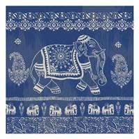 Boho Elephant Blue Fine Art Print