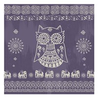 Boho Owl Purple Fine Art Print