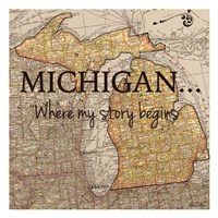 Story Michigan Framed Print