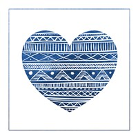 Indigo Tribal Heart 1 Framed Print