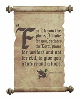 Jeremiah 29:11 For I know the Plans I have for You (Dove on Scroll) Fine Art Print