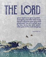 Zephaniah 3:17 The Lord Your God ( Waves) Fine Art Print