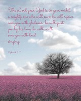 Zephaniah 3:17 The Lord Your God (Colored Landscape) Fine Art Print