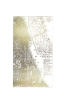 Gold Foil City Map Chicago- Metallic Foil Framed Print