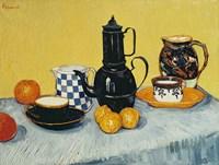 Still Life with Blue Enamel Coffeepot, Earthenware and Fruit Fine Art Print