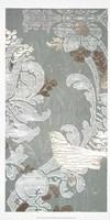 Gilded Damask Songbird II - Metallic Foil Fine Art Print