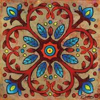 Mandala Red Vines Framed Print
