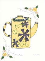 Black & Yellow Floral Teapot Framed Print