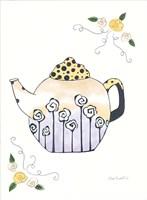 Black & White Roses on Round Teapot Fine Art Print