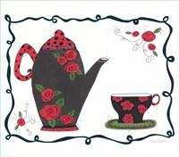 Red Rose Tea set Fine Art Print