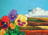 Colorful Pansies in Field Fine Art Print
