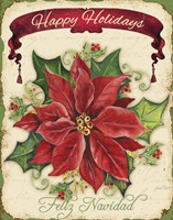 Happy Holidays - Pointsettia Fine Art Print