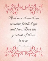 1 Corinthians 13:13 Faith, Hope and Love (Pink) Fine Art Print