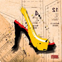 Suede Heel Yellow Red Sole Framed Print