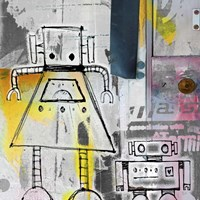 Mum And Son Robots Fine Art Print