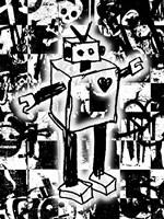 Robot Graffiti Fine Art Print
