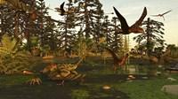 Eudimorphodon And Peteinosaurus Pterosaurs In A Swampy Triassic Scene Fine Art Print