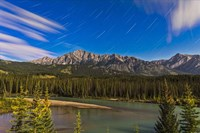 Star trails above the Front Ranges in Banff National Park, Alberta, Canada Fine Art Print