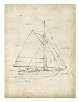 Sailboat Blueprint III Framed Print